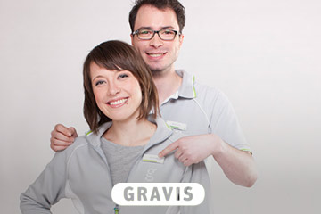 Werbefotografie von zwei fröhlichen Angestellten von Gravis