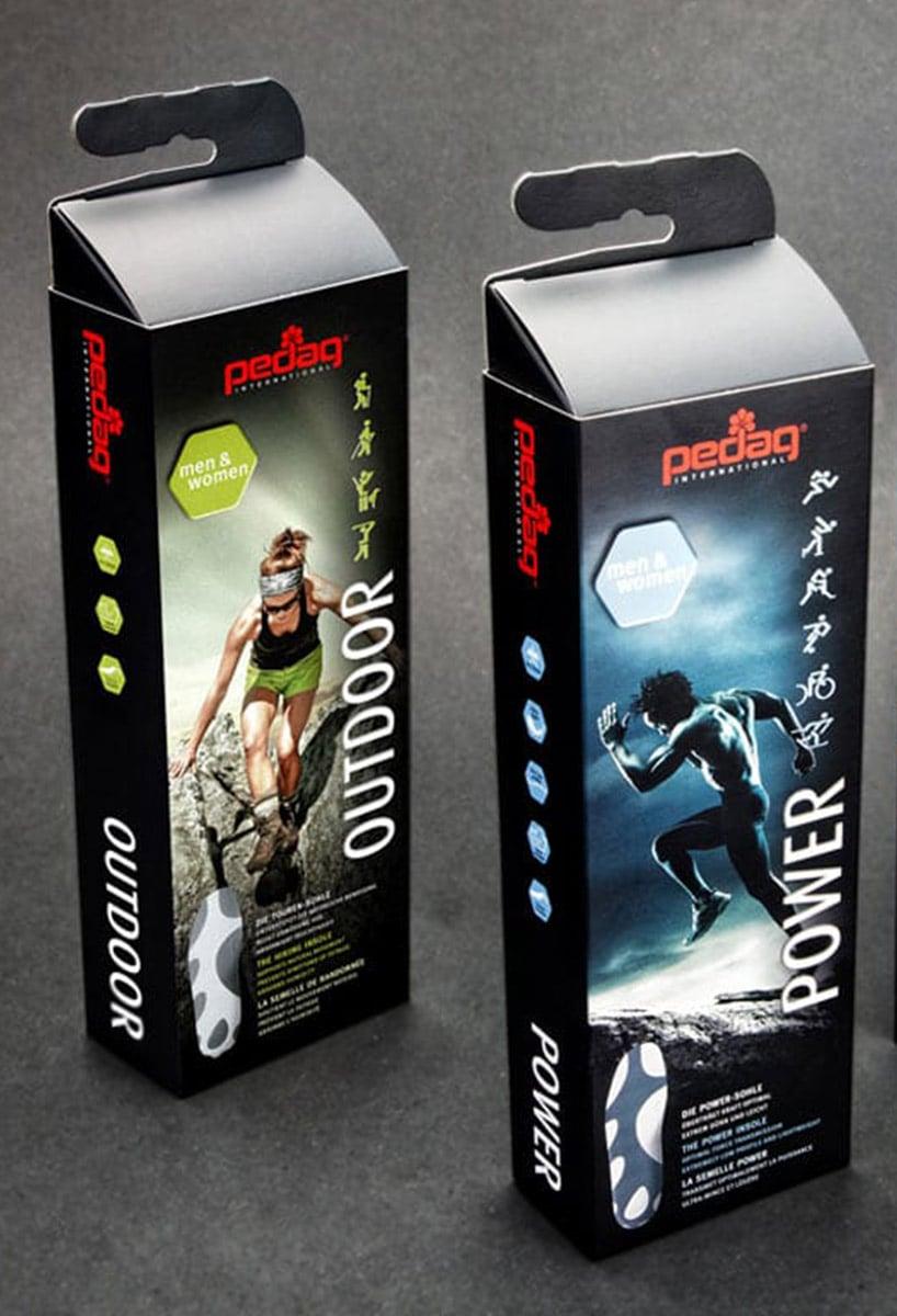 Markenstrategie und Packaging Design für  pedag Einlegesohlen.